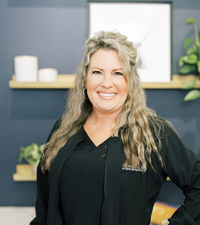 Our dental hygienist, Melissa, smiling in our office